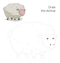 Draw animal sheep educational game vector