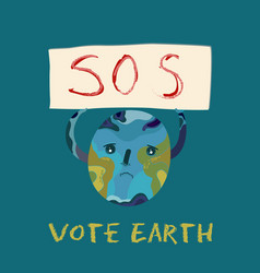 Ecological poster with polluted planet earth vector