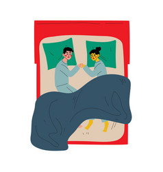 family couple sleeping together holding hands vector image