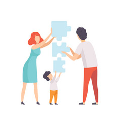 Family members connecting puzzle elements father vector