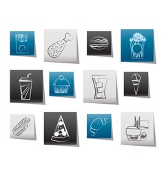 fast food and drink icons vector image