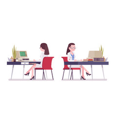 Female scientist working at desk vector