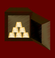 Flat shading style icon gold bars in a safe vector