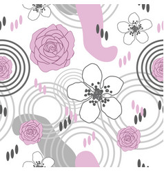 flowers delight-flowers in bloom seamless repeat vector image