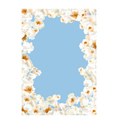 Frame made of popcorn over the light blue vector