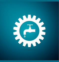 Gearwheel with tap icon on blue background vector