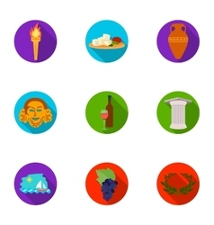 Greece set icons in flat style Big collection of vector image