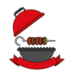 Grill barbecue skewer hot food vector