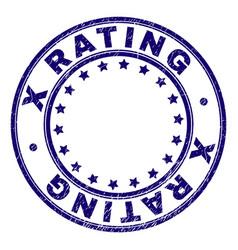 Grunge textured x rating round stamp seal vector