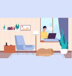Guy with laptop man resting person and dog vector