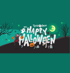 halloween banner background party at night vector image
