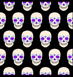 halloween seamless pattern with skulls vector image