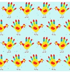 Hand print rooster design seamless pattern vector image