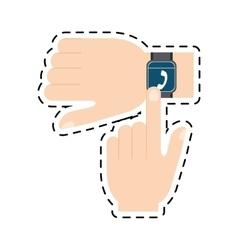 hand touchscreen smart watch wearable technology vector image