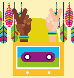 hands peace and love cassette and feather retro vector image