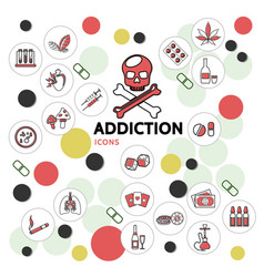Harmful addictions line icons collection vector