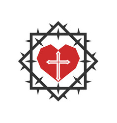 Heart and cross jesus inside a crown thorns vector