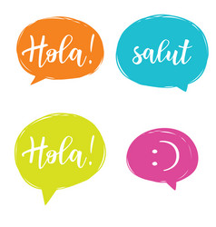 Hello in different languages set vector