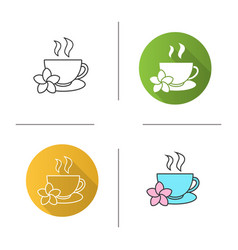 Herbal teacup icon vector