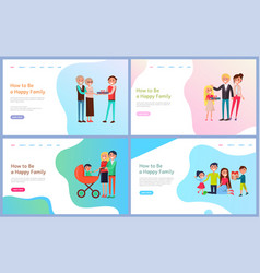 How to be happy family set with parents and kids vector