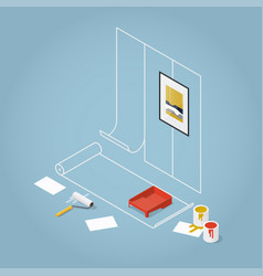 Isometric concept home renovation vector
