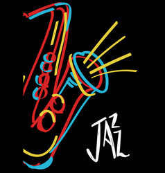 jazz music colorful abstract saxophone art poster vector image