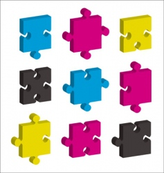 jigsaw pieces CMYK vector image