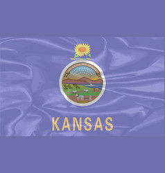 Kansas state silk flag vector