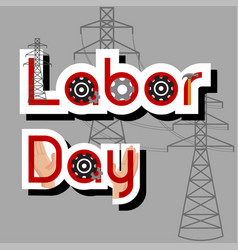 Labor day sale concept with hammer gears hands vector