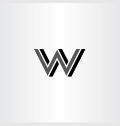letter w and n wn logo icon black sign symbol vector image