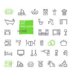linear icons household items furniture vector image