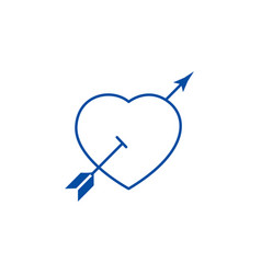love heart with arrow line icon concept love vector image