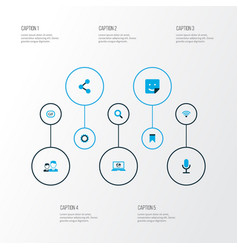 Media icons colored set with video chat publish vector
