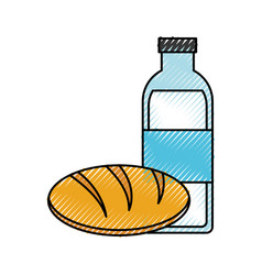 Milk bottle and bread vector