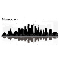 moscow russia city skyline silhouette with black vector image