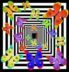 Multicolored butterfly fly away into the distance vector