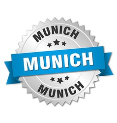 Munich round silver badge with blue ribbon vector