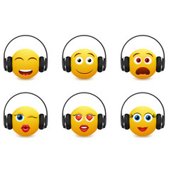 Music emoji in headphones icon set vector