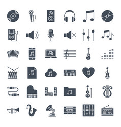 music solid web icons vector image