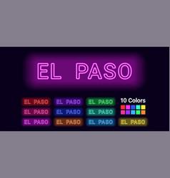 Neon name of el paso city vector
