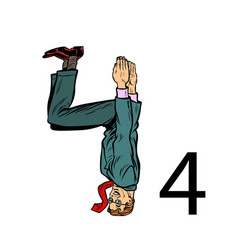Number four 4 business people silhouette alphabet vector