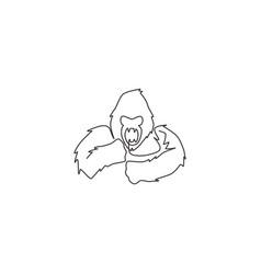 one single line drawing gorilla head vector image