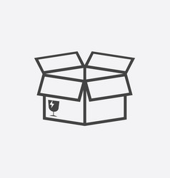 Open box icon shipping pack flat on white vector