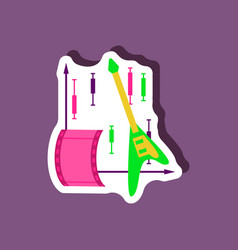 Paper sticker on stylish background music vector