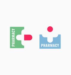 Pharmacy logo set with capsule pill on white vector