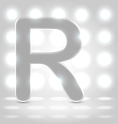 R over lighted background vector
