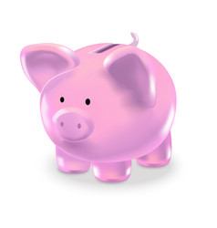 Realistic money box pink pig vector