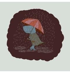 sad whale with an umbrella vector image