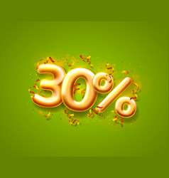 Sale 30 off ballon number on green background vector