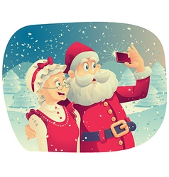 Santa Claus and Mrs Claus Taking a Photo Together vector